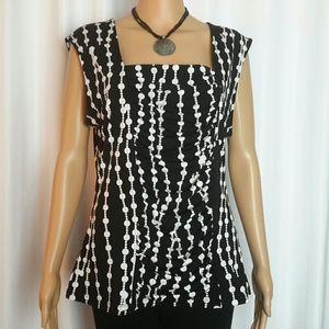 Style & Co. Black and White Sleeveless Blouse Sz L